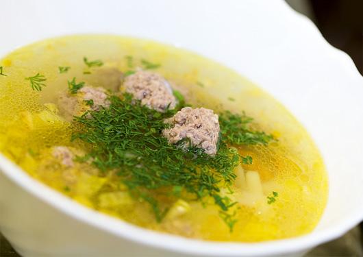 Грибной суп с тефтелями