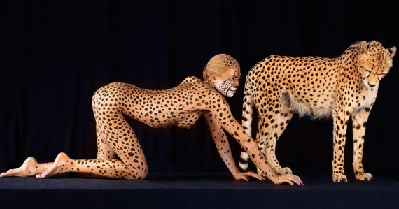боди арт с леопардом