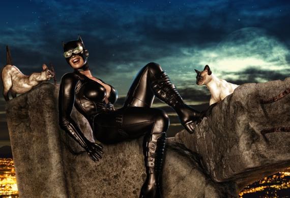 кэт-вумен с кошками