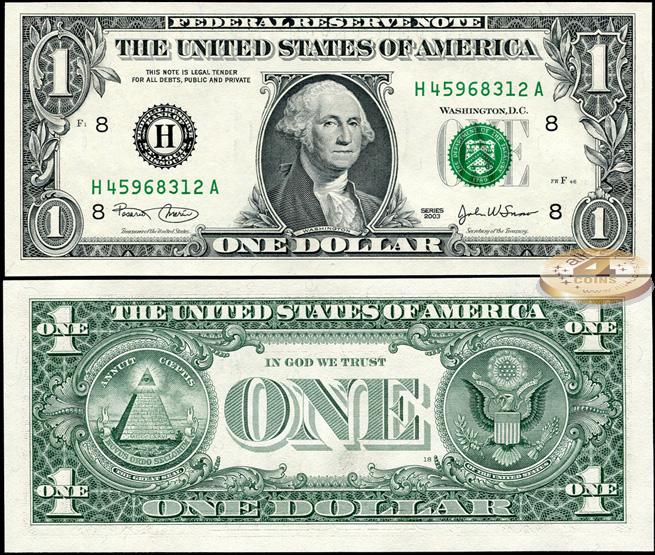 доллар с пирамидой и всевидящим оком