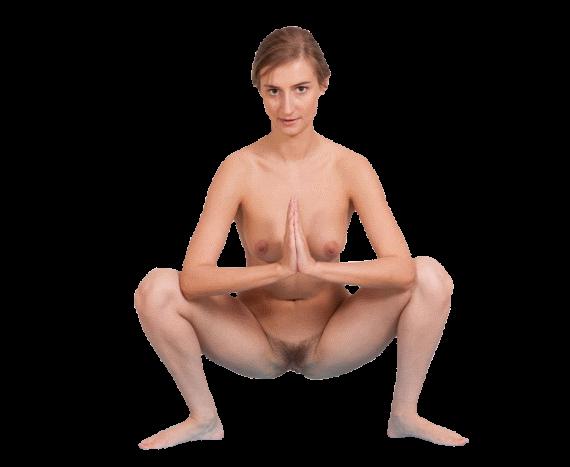 женщина на корточках - клипарт